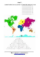 מפת העולם - 7 יבשות
